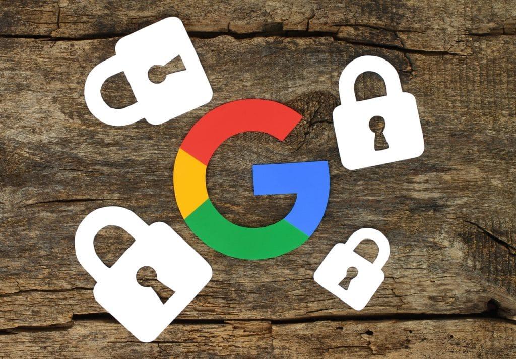 Ilustração de conta Google com cadeados ao redor