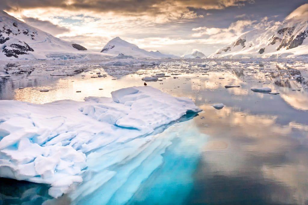 Baía Paraíso (Paradise Bay), porto na Antártida Ocidental. Imagem: Wim Hoek/Shutterstock