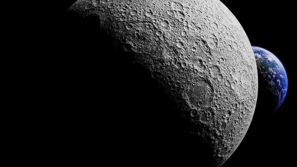 Terra atrás do lado escuro da Lua (ilustração 3D); telescópios lunares devem ser colocados nessa região. Imagem: NASA/Divulgação