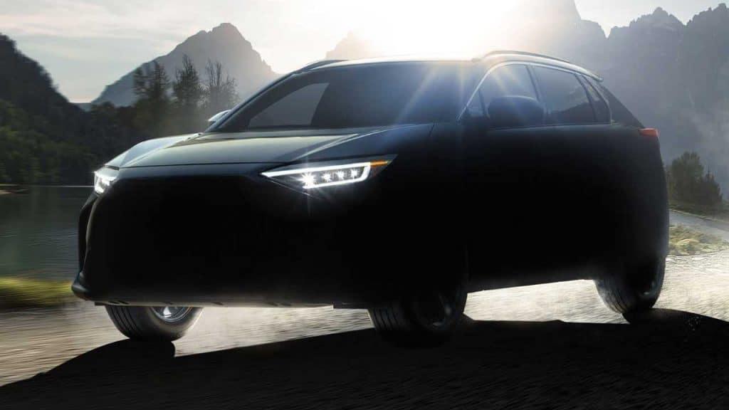 Teaser do Subaru Solterra, primeiro elétrico da marca. Imagem: Subaru/Divulgação