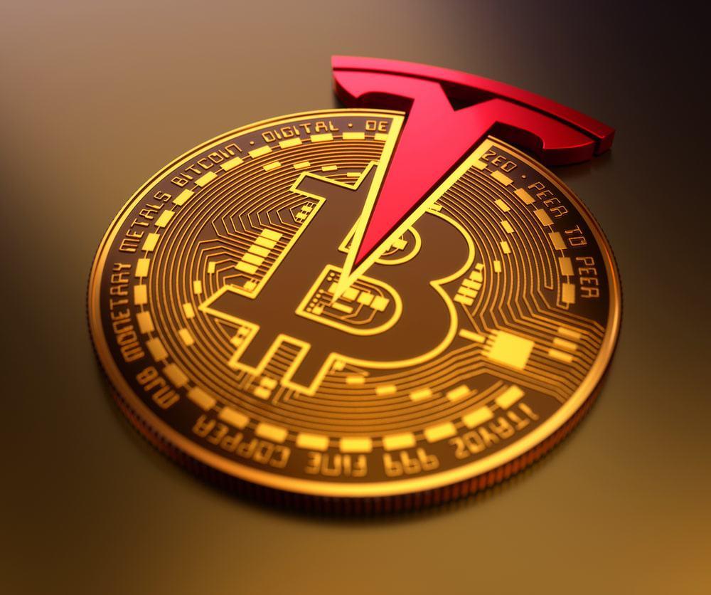 Imagem mostra uma versão da moeda virtual bitcoin, em conjunto com o logotipo da montadora Tesla, de Elon Musk