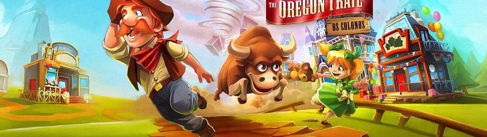 """Banner mostra imagem do jogo mobile """"The Oregon Trail"""", com um colono fugindo de um touro bravo"""