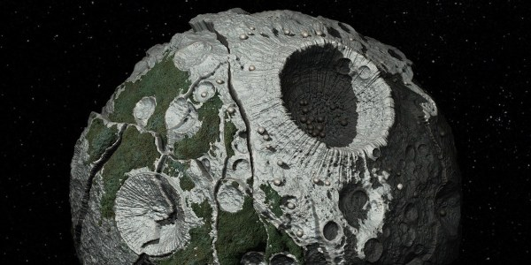 Renderização do asteróide 16 Psyche