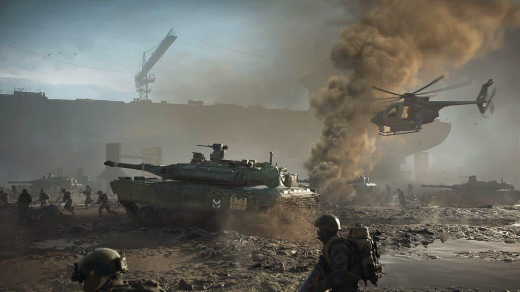 Campo de batalha BF 2042; jogo terá três modos. Imagem: Divulgação/Eletronic Arts
