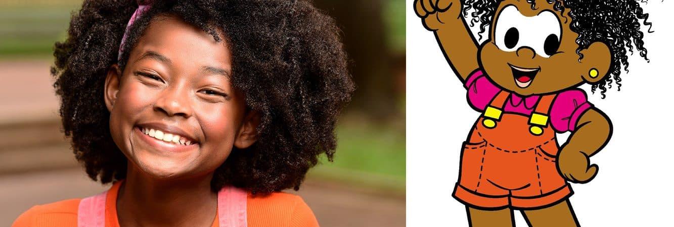 A Emily Nayara em montagem ao lado da personagem Milena, da Turma da Mônica, seu papel no próximo filme inspirado nos quadrinhos.
