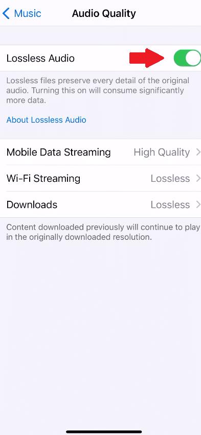 Ativar a função lossless áudio para o Apple Music