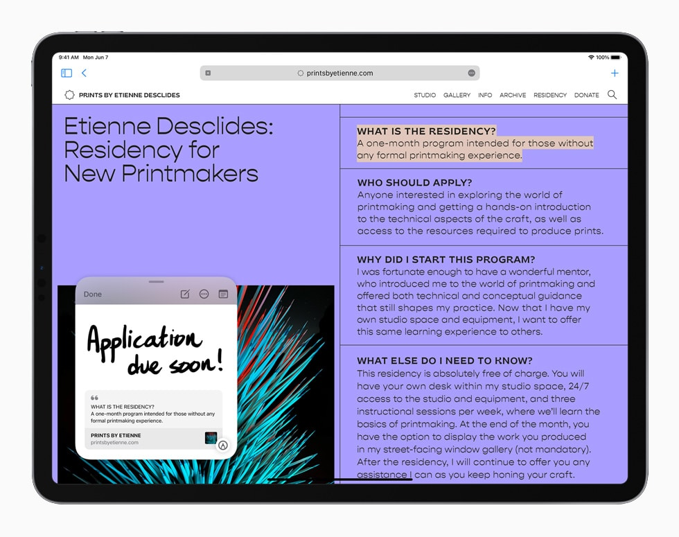 Anotações (Quick Note) podem ser usadas em qualquer parte do sistema operacional, e são sensíveis a contexto. Imagem: Apple