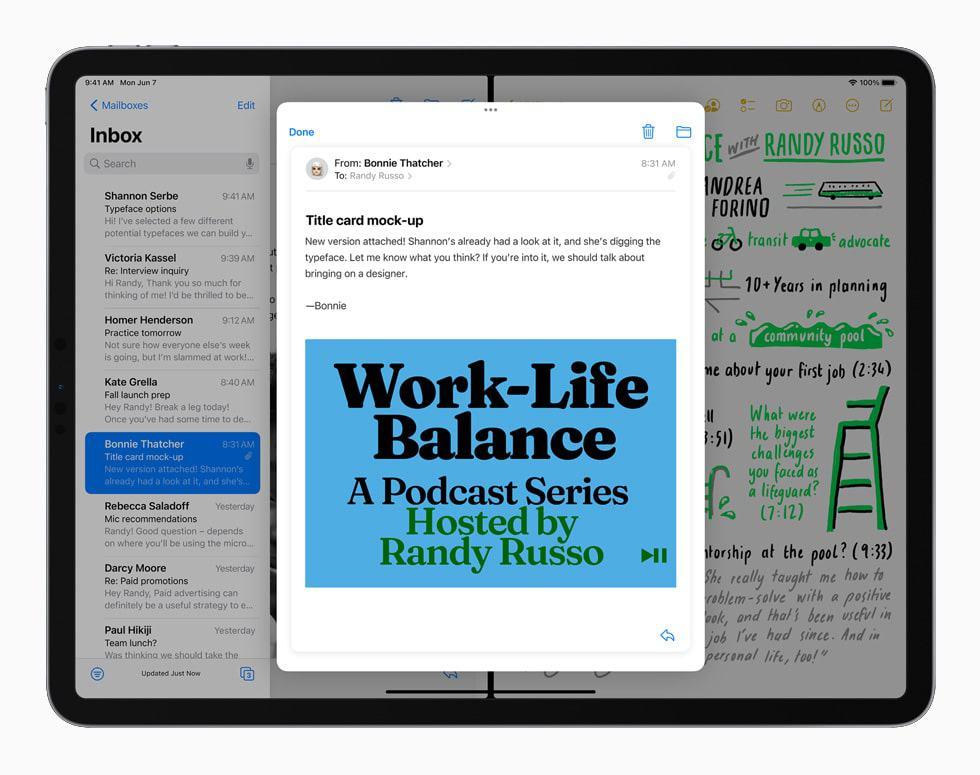 Com o iPad OS 15, fica mais fácil trabalhar com multitarefa. Imagem: Apple