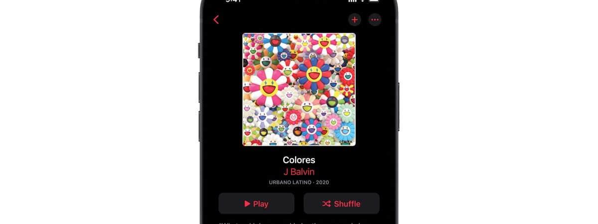 Apple Music executando em iPhone com as novas funções de lossless áudio e Dolby Atmos