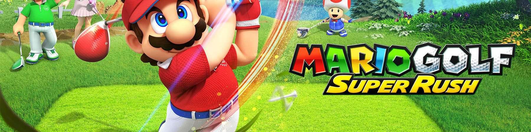 Imagem promocional de Mario Golf: Super Rush mostra Mario em destaque, dando uma tacada, sendo observado por Luigi, Peach e Toad