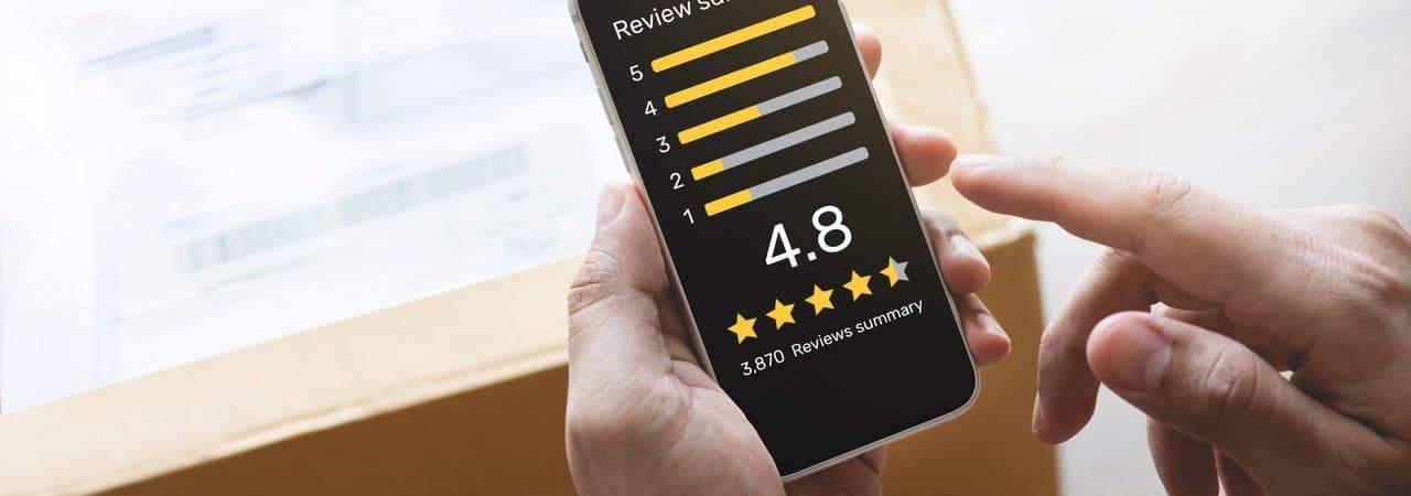 Ilustração de avaliação online de compra realizada