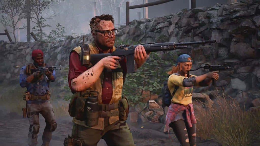 Três personagens de Back 4 Blood exploram cenário armados