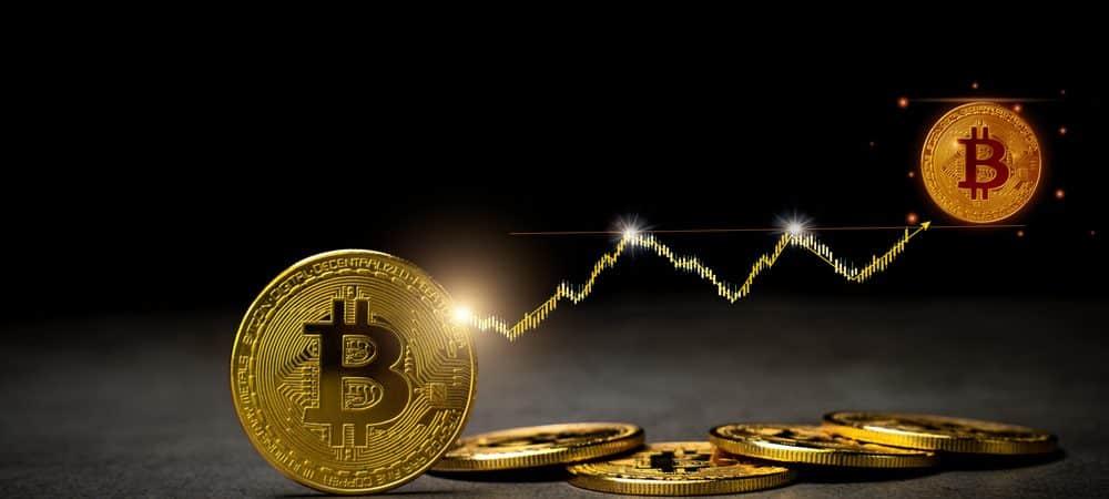 Ilustração de alta no valor do bitcoin