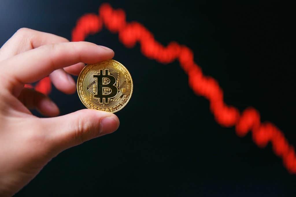 Ilustração de queda do bitcoin