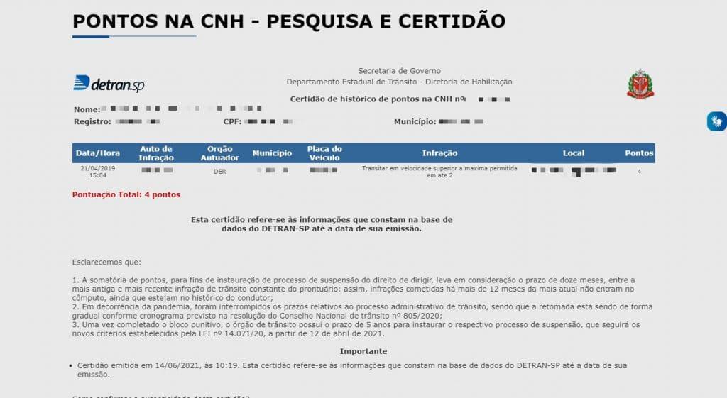 Histórico de pontuação da CNH