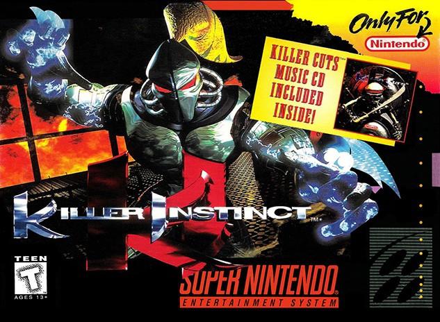 Imagem exibe a capa de  Killer Instinct para Super Nintendo, lançada em 1995.