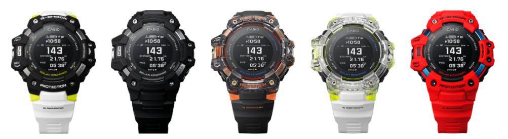 Imagem mostra todas as versões do smartwatch GBD-H1000, da Casio