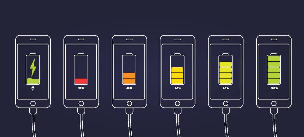 Ilustração de celulares carregando a bateria