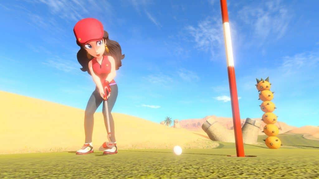 Tela do jogo mostra personagem Pauline no campo Balmy Dunes.