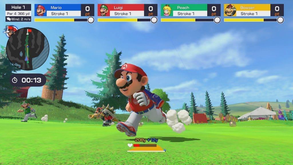 Tela do jogo mostra Mario e outros personagens correndo em campo de golfe.