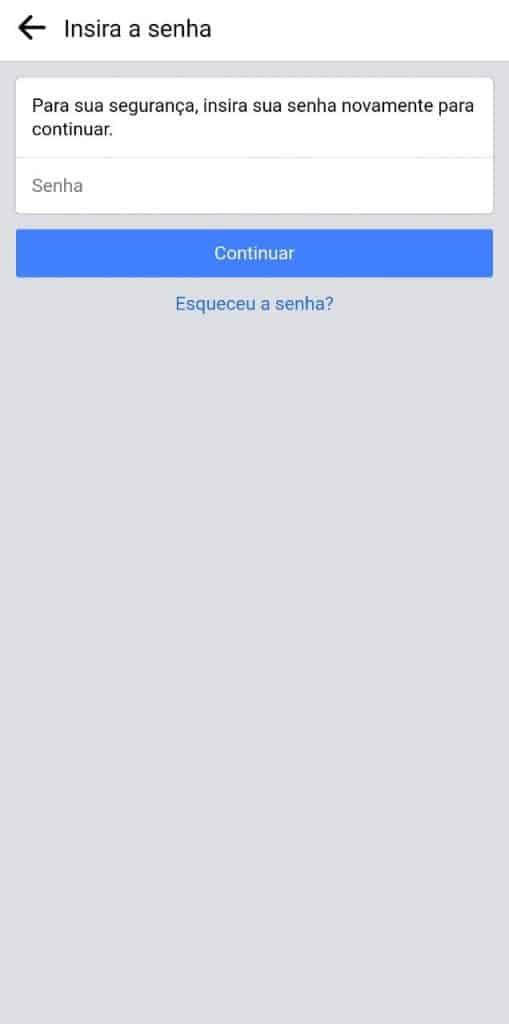 Print do aplicativo do Facebook