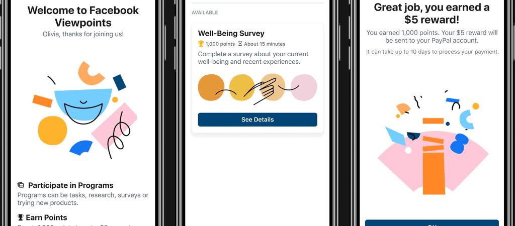 Aplicativo de recompensas Facebook Viewpoints