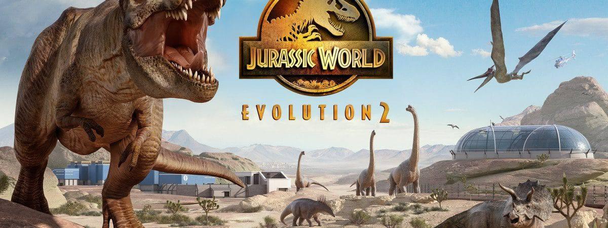 Imagem promocional de Jurassic World Evolution 2 exibe dinossauros e instalações do parque.