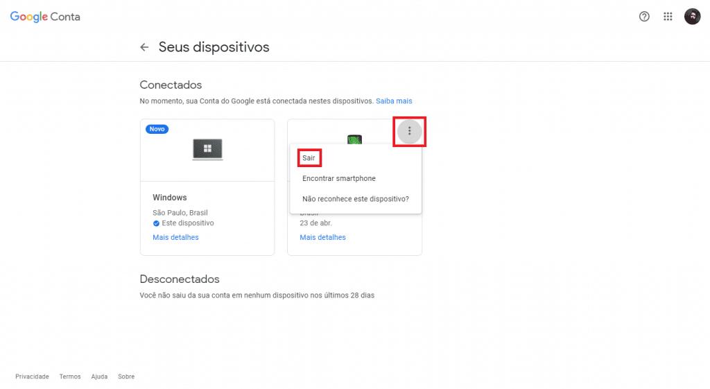 Fazendo logout no Gmail em um dispositivo conectado