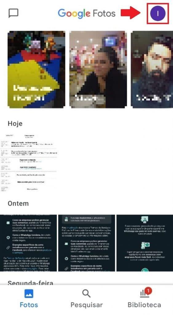 Página inicial do Google Fotos