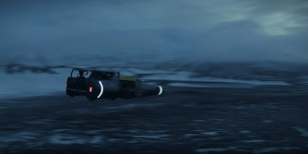 Imagem do teaser da série Fundação exibe veículo voador em paisagem deserta.