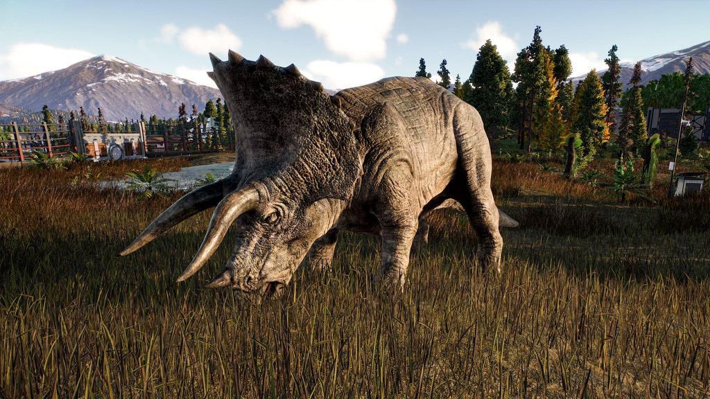 Triceratops em imagem promocional de Jurassic World Evolution 2