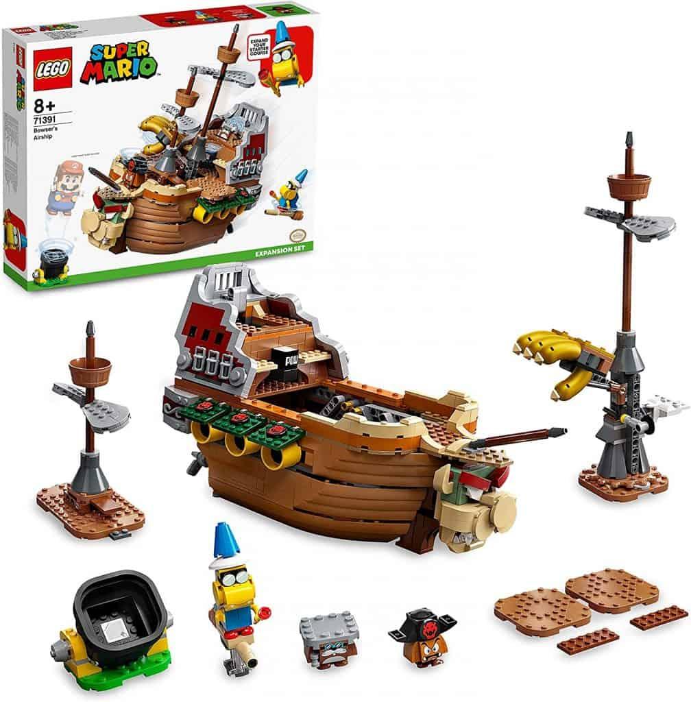 La imagen muestra detalles del kit de Lego Super Mario con el barco volador de Bowser.