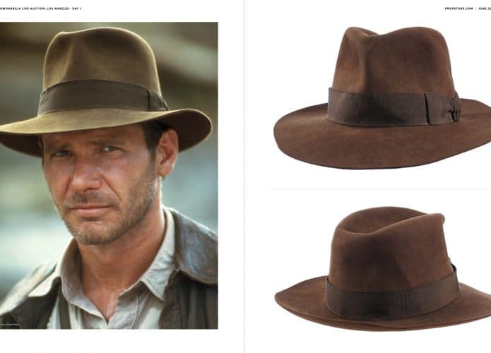 Harrison Ford em cena de Indiana Jones e o Templo da Perdição ao lado de imagens do chapéu utilizado pelo ator.