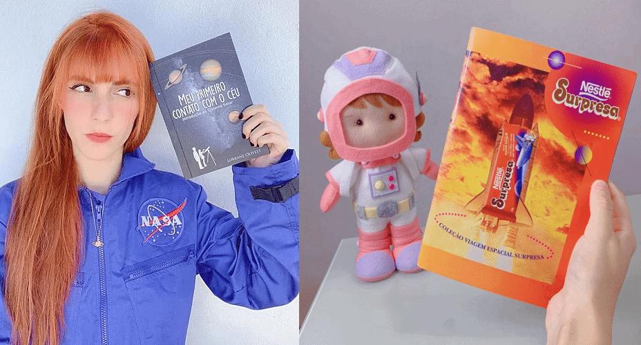 Lorrane segurando seu primeiro livro (à esquerda) e o livrinho que despertou seu interesse pela Astronomia (à direita)