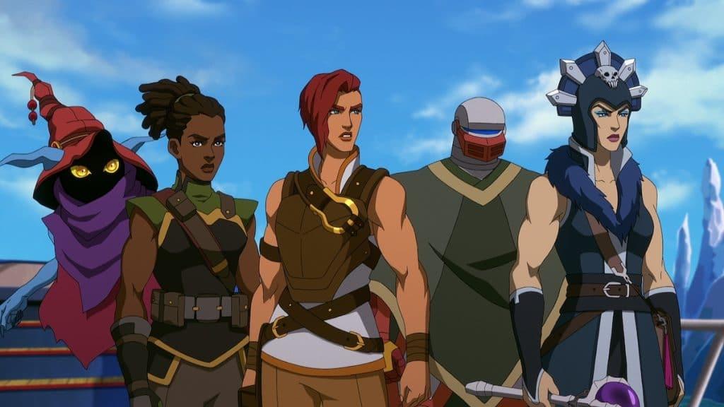 Gorpo, Andra, Teela, Roboto e Maligna lado a lado. em cena do episódio 3.