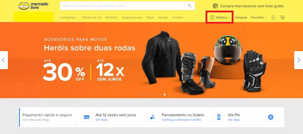 Print do site do Mercado Livre
