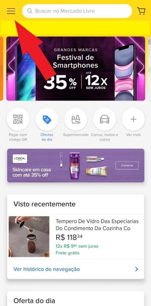 Print do aplicativo do Mercado Livre