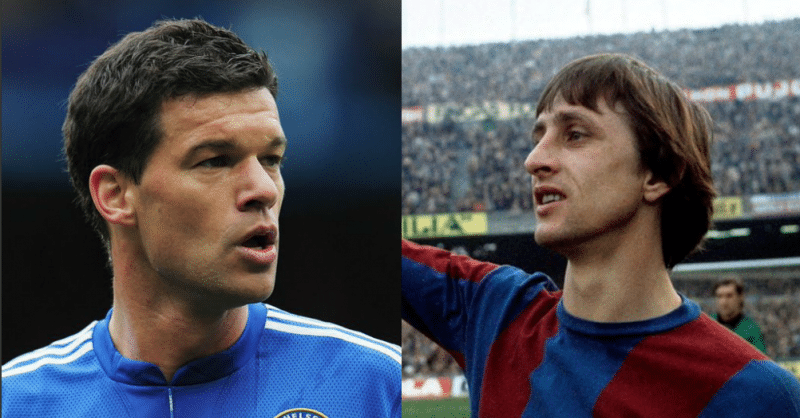 Michael Ballak (a esquerda) e Johan Cruyff (a direita), jogadores de futebol que deram nome a asteroides