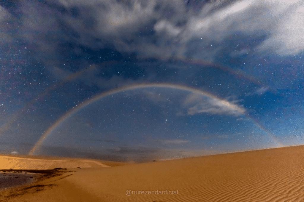 Moonbow, ou arco-íris lunar registrado nos Lençóis Maranhenses