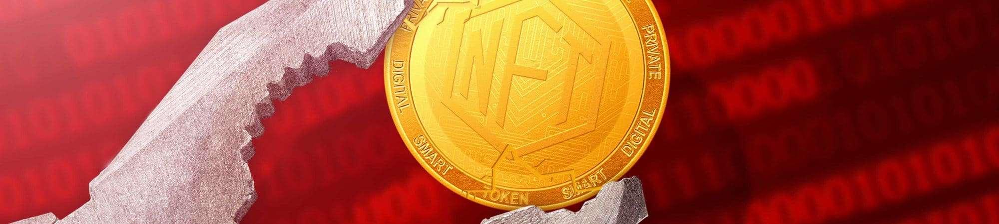 Ilustração de tokens não fungíveis (NFTs) sendo destruídos