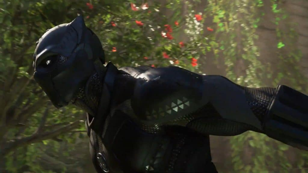 Personagem Pantera Negra em cena do jogo Marvel's Avengers