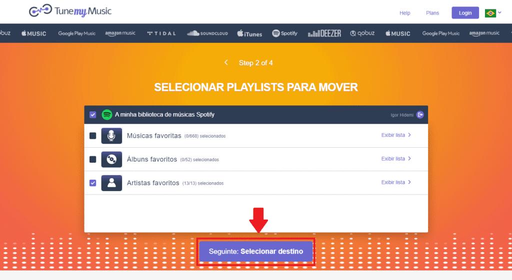 Definindo quais músicas, álbuns e artistas serão transferidos para a outra plataforma