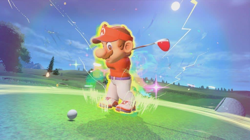 Tela do jogo mostra Mario prestes a dar tacada com efeito de power-up