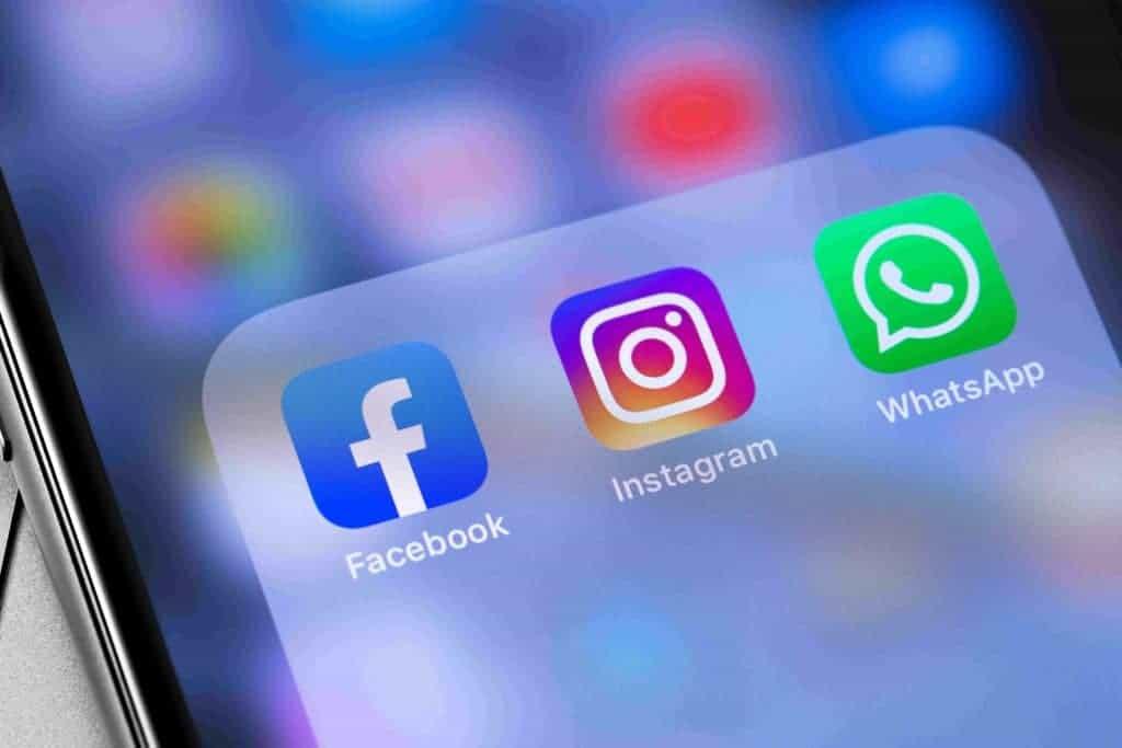 Ícones do Facebook, Instagram e WhatsApp