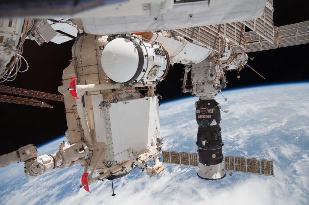 Imagem mostra o módulo de acoplagem Pirs, na Estação Espacial Internacional