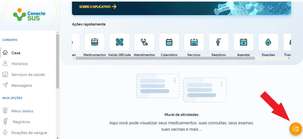 Tela do site com botão para acessar carteira. Imagem: Reprodução