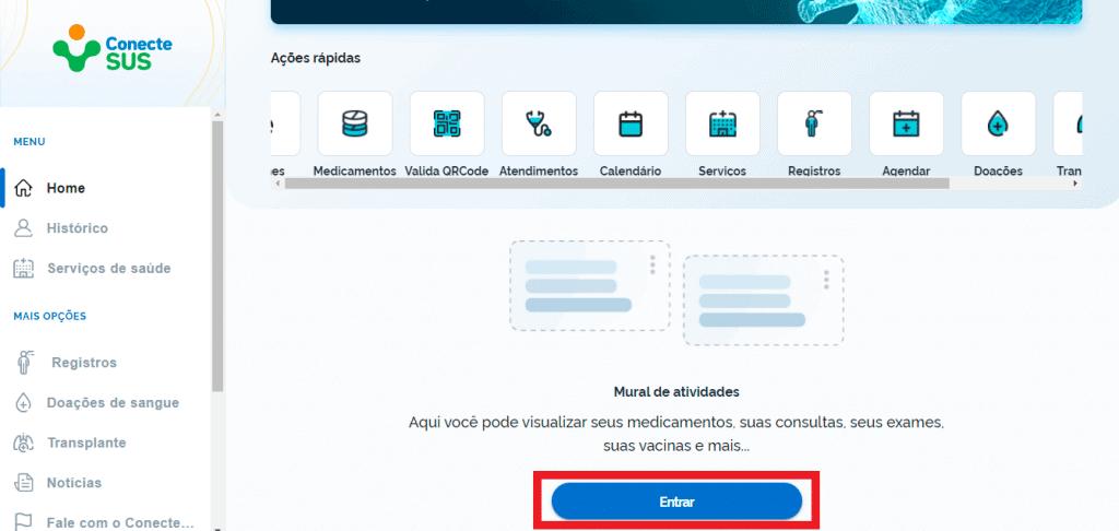 Tela do site com botão para entrar. Imagem: Reprodução