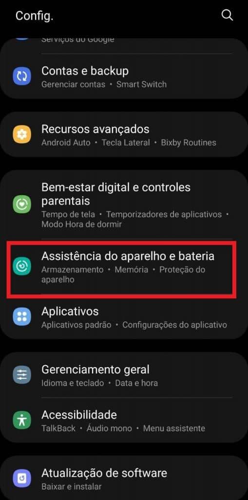 Print do sistema operacional de um celular Samsung