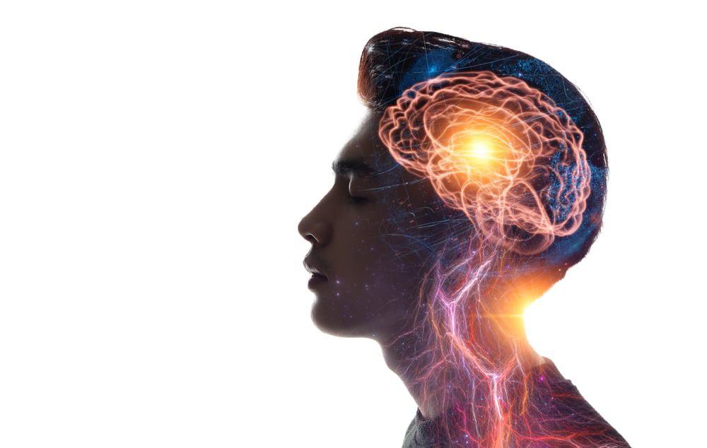 Ilustração do cérebro de um jovem