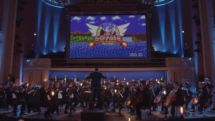 Orquestra Filarmônica da Cidade de Praga brilhou em concerto de 30 anos de 'Sonic'. Imagem: Youtube/Reprodução
